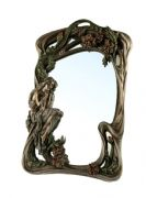 Bronze Effect Art Nouveau Lady Wall Mirror with Leaves and Flowers Secret Garden Freestanding Home D